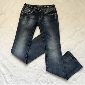 Miss Me Crystal Cross Wing Bootcut Jeans 28